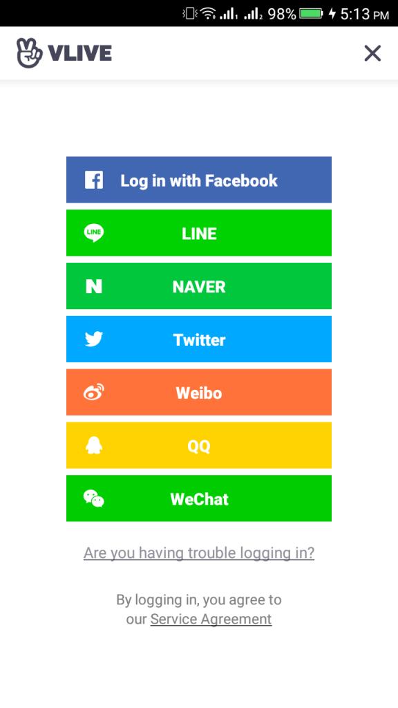 Screenshot of VLive App