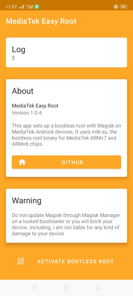 Screenshot of MediaTek Easy Root Apk