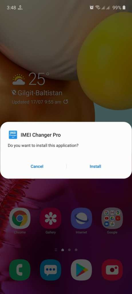 Screenshot of IMEI Changer Pro App