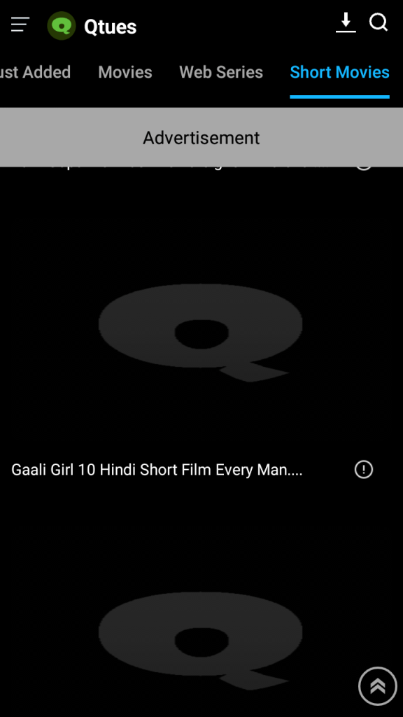 Screenshot of Qtues Movie App