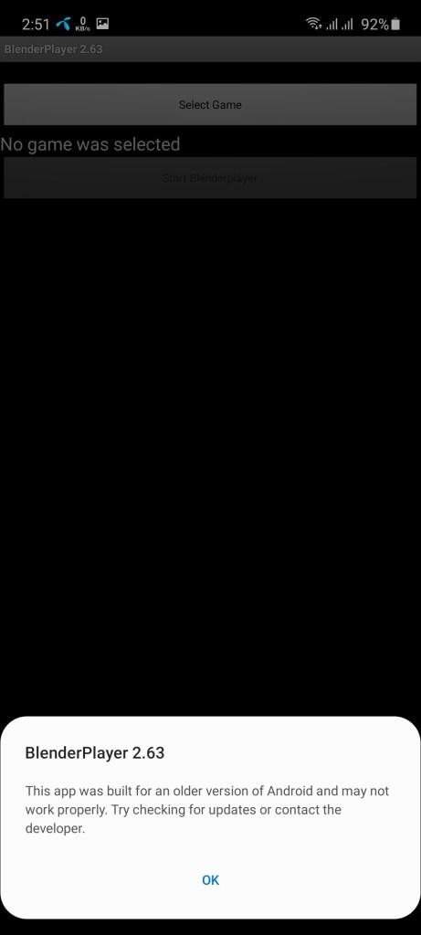 Screenshot of Blender Player App