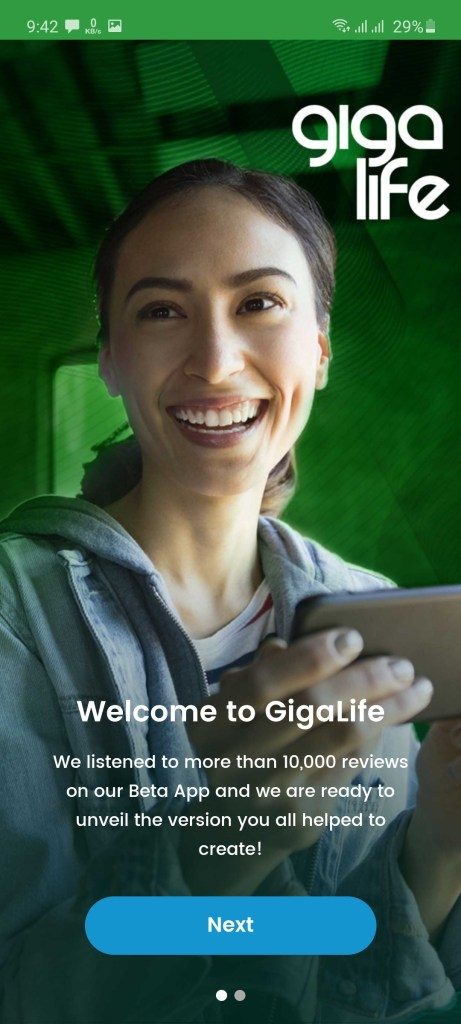 Screenshot of GigaLife App
