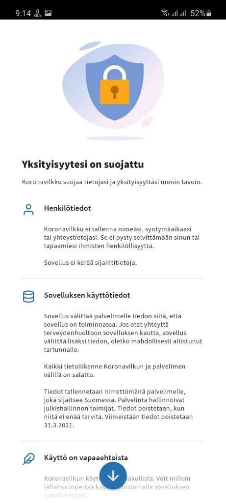 Screenshot of Koronavilkku App