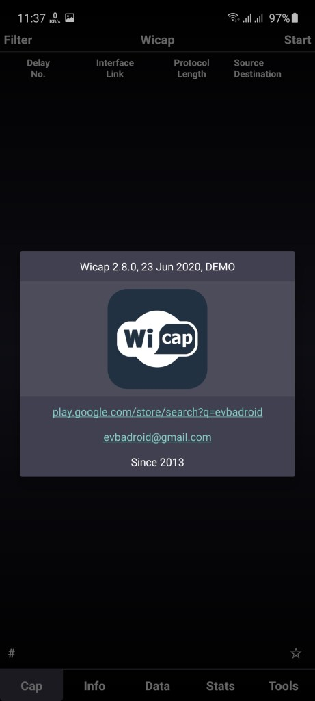 Screenshot of WICAP Pro App