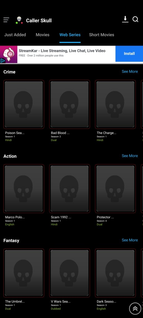 Screenshot of Caller Skull App