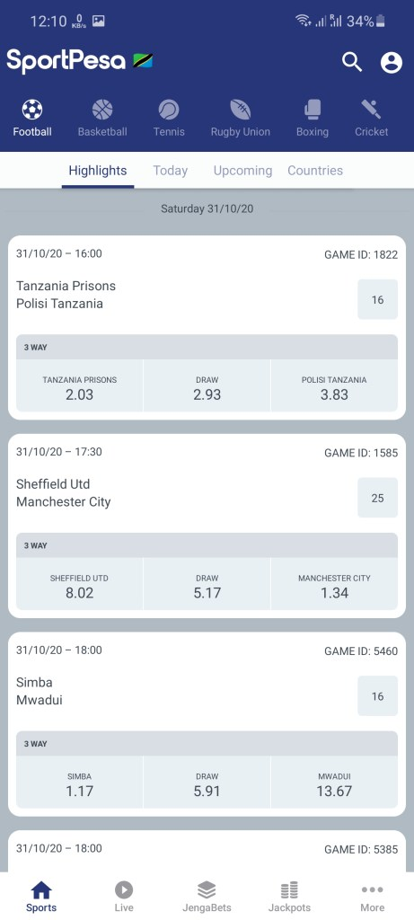 Screenshot of SportPesa Apk