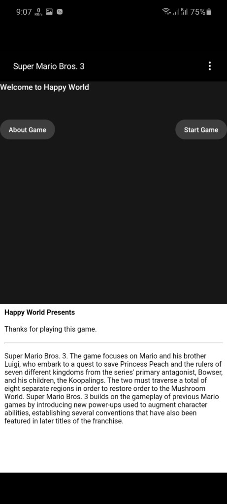 Screenshot of Super Mario 3 For Android