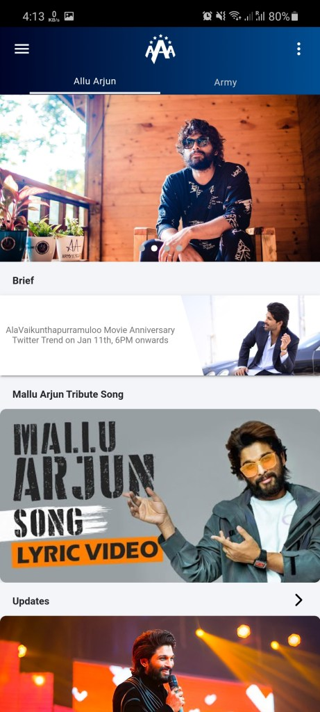 Screenshot of Allu Arjun Army App