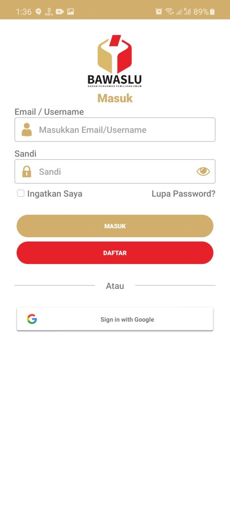 Screenshot of Siwaslu 2020 App