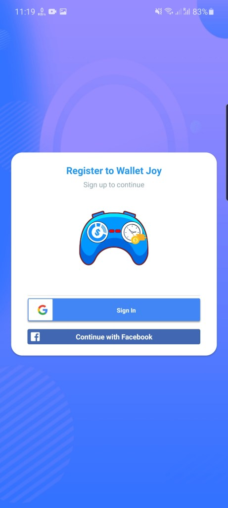 Screenshot of Wallet Joy App
