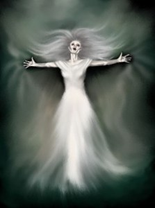 Black and white representation of the banshee