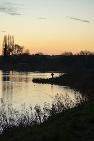 Angler in the morning sun