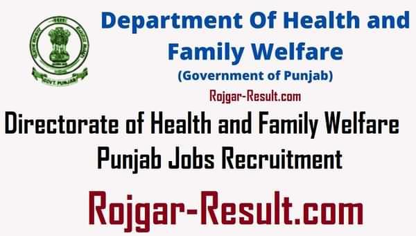 DHFW Punjab Recruitment Punjab DHFW Recruitment