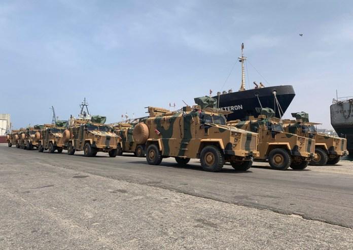 Véhicules militaires Kirpi de la compagnie turque BMC livré au Gouvernement d'union nationale (GNA). Le 17 mai 2019, à Tripoli.