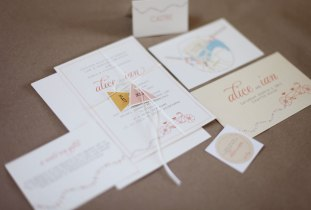 We created invite, swing tags, RSVP postcard, map, stickers (for cupcakes), giftcard - with bicycle motif