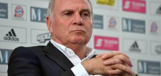 (Quelle: imago/Sven Simon) Bayern-Präsident Uli Hoeneß äußert sich zur Kritik von Robert Lewandowski.