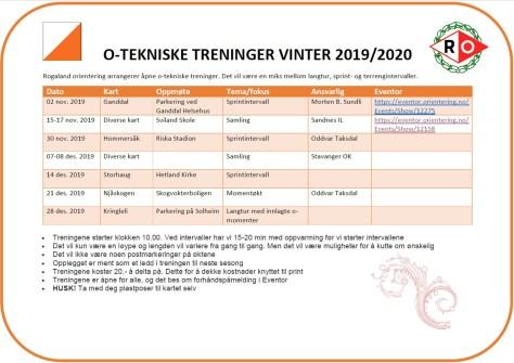 O-tekniske treninger vinteren 2019-2020