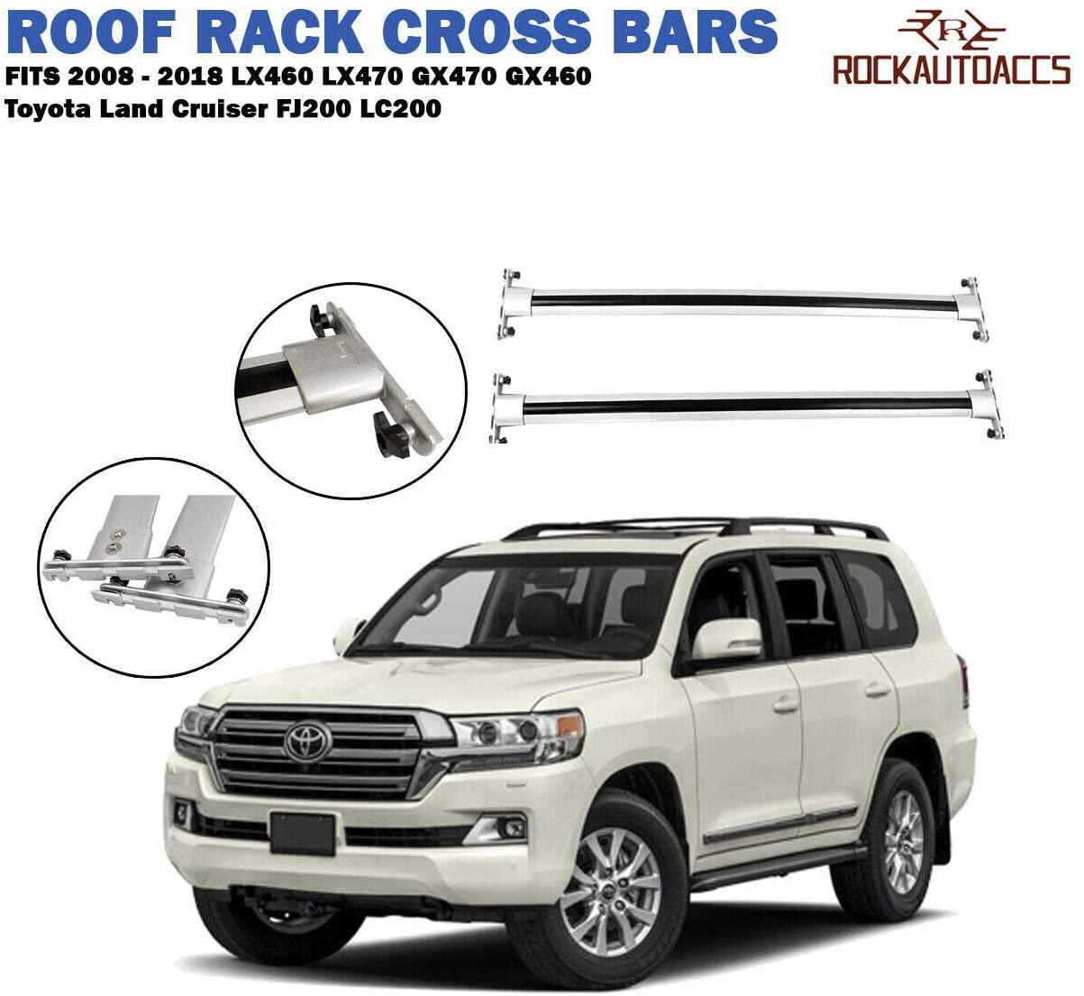 rokiotoex roof rack crossbars fit lx460 lx470 gx470 gx460 toyota land cruiser fj200 lc200 2008 2018 baggage luggage carrier roof rail cross bars