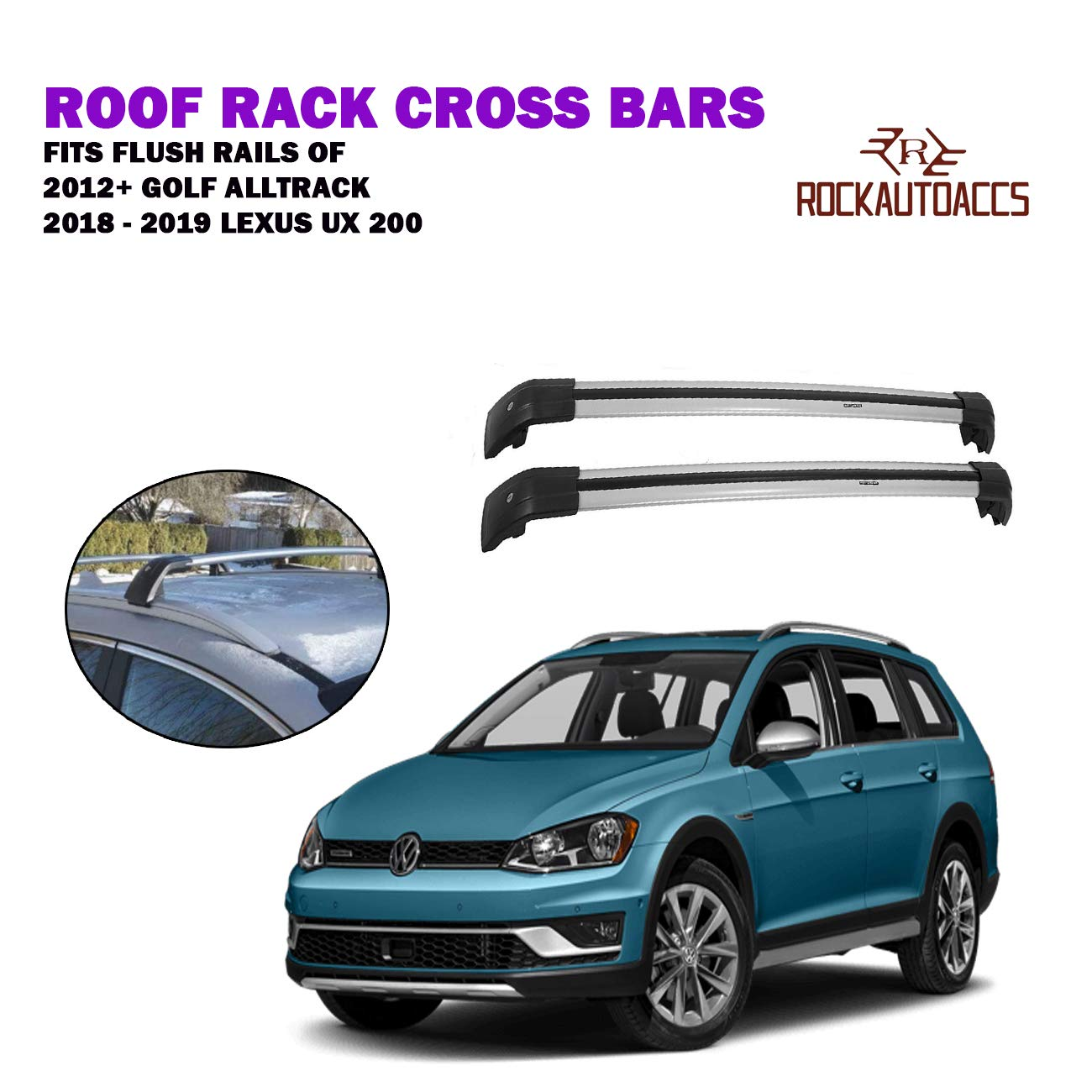ROKIOTOEX Extendable Universal Shark Aluminum Alloy Roof Rack Crossbars for Outer Grooved Roof Rack Flush Rails SGCB9586 Silver and Black