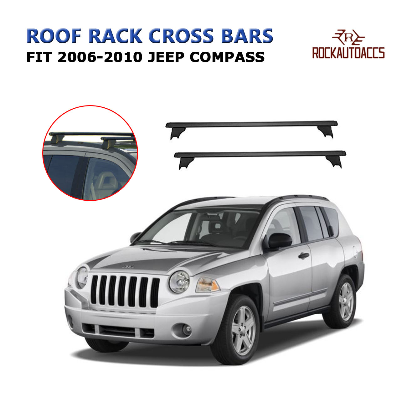 rokiotoex roof rack crossbars roof rail cross bars fit 2006 2007 2008 2009 2010 jeep compass rooftop side rails cargo bag luggage carrier aluminum
