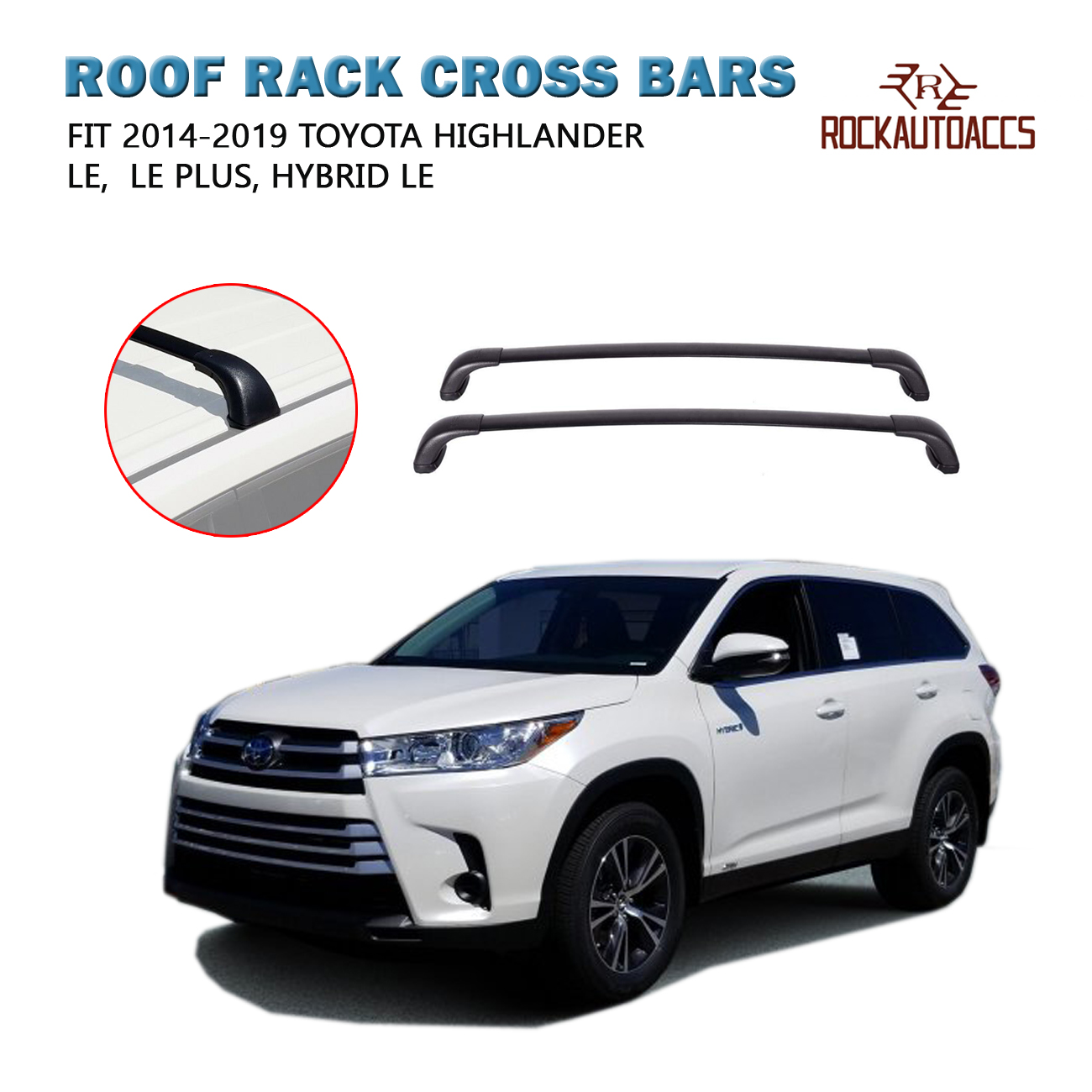 rokiotoex roof rack crossbars fit 2014 2019 toyota highlander le plus hybrid le side rails cross bars cargo box carrier bike rack kayak rack ski