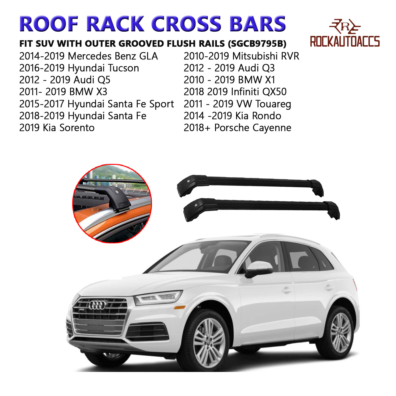 fit for Hyundai Santafe Roof Rack Cross bars Black 2018--/>