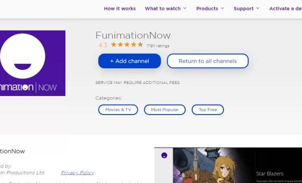 Add FunimationNow on Roku