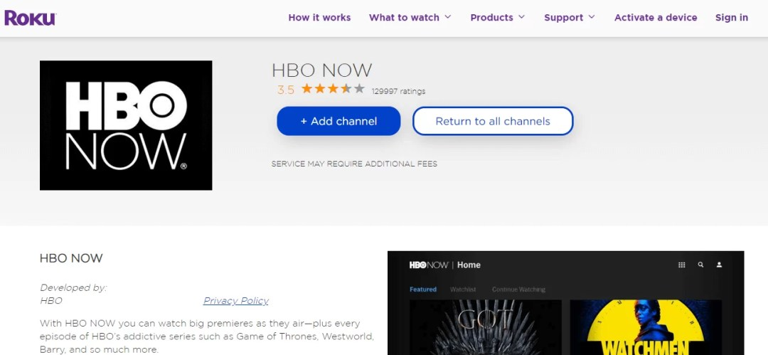 Add HBO NOW to Roku TV