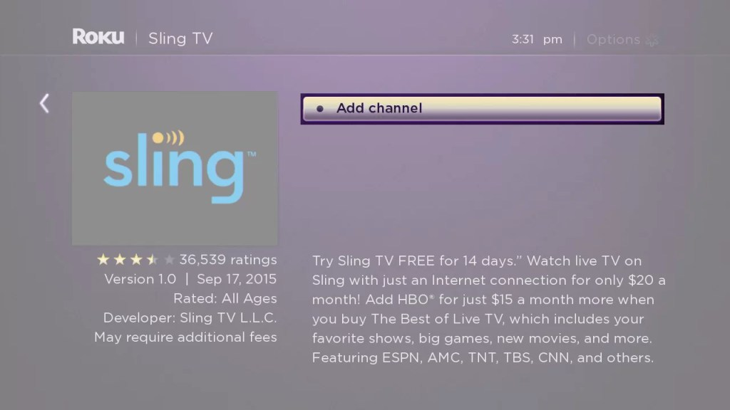 Download Sling TV on Roku