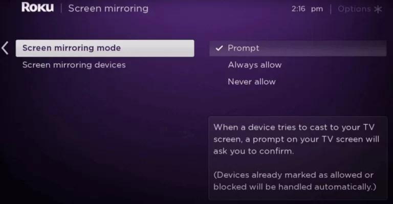 Screen miroring mode - GOOGLE ON ROKU