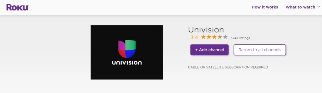 UNIVISION ON ROKU - Add channel