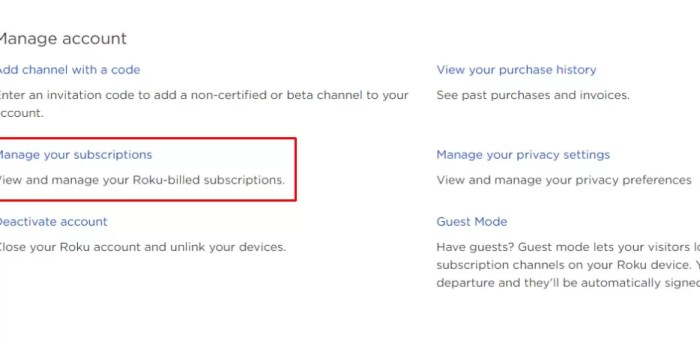 Click Manage Your subscription
