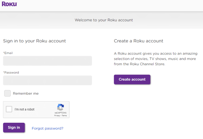 Sign in to Roku Account
