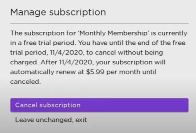 Click Cancel Subscription