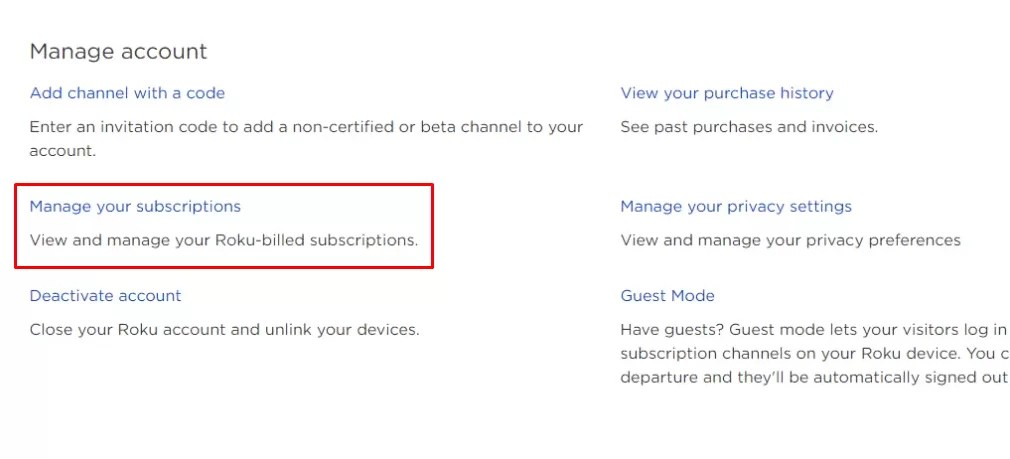 Click Manage your subscriptions