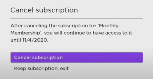 select Cancel Subscription - Cancel STARZ on Roku