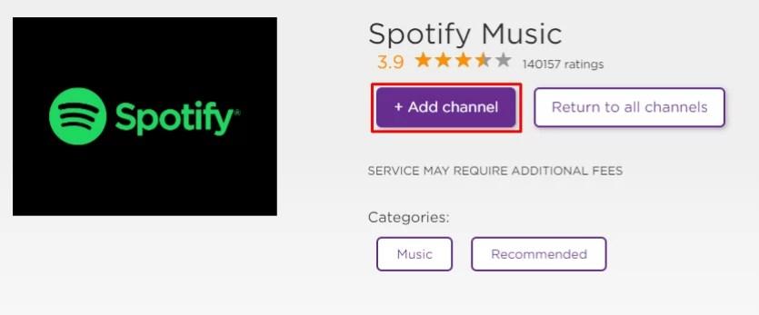 Select Add Channel - Spotify on Roku