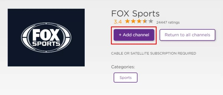 Add Channel to get FOX Sports- Super Bowl on Roku