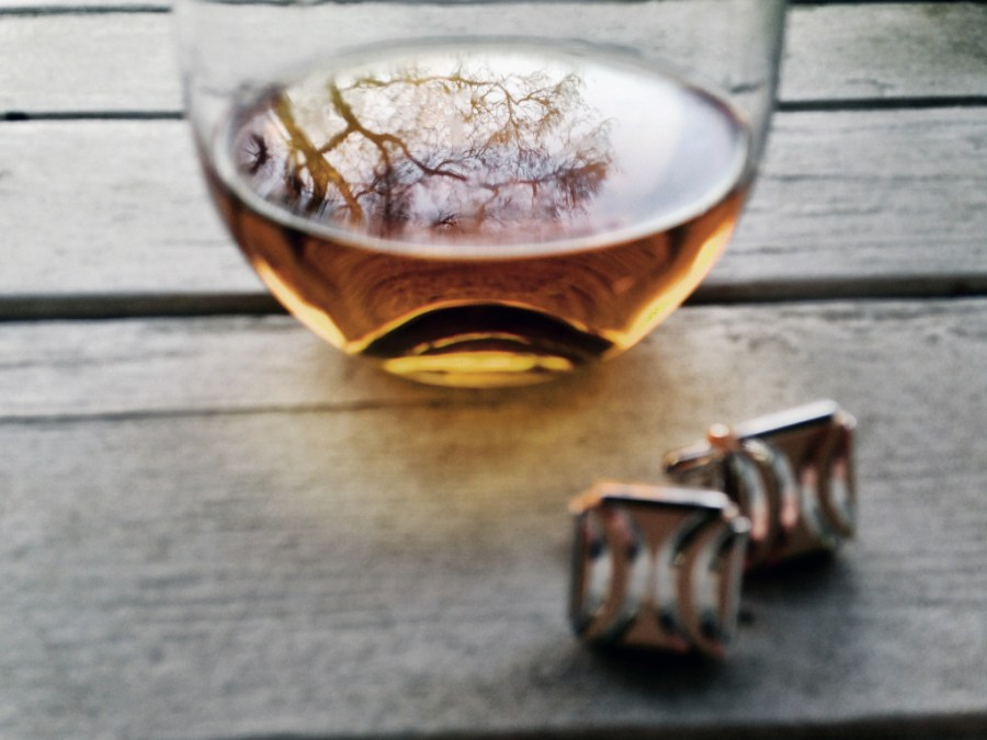 Whiskey infused with rokz Ginger Cardamom Infusion kit and a pair of family cuff links.