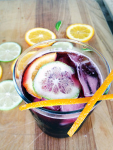 A simple sangria dressed up with citrus garnish.