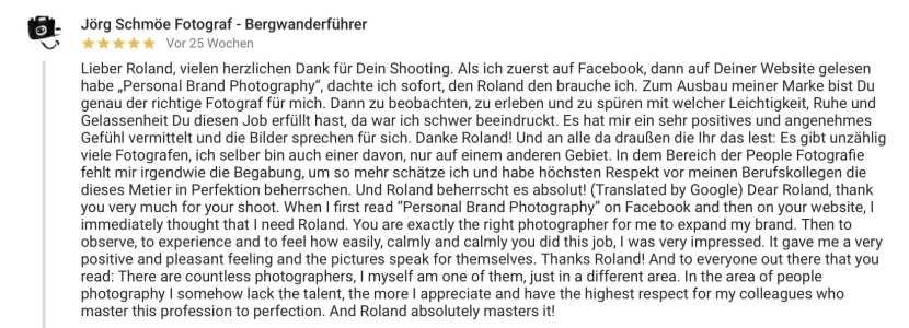 Google Bewertung für Roland Photography von Jörg Schmöe