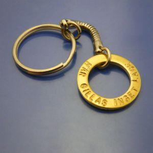 Nyckelring i rostfritt med Mässingamulett. Här gillas inget läge