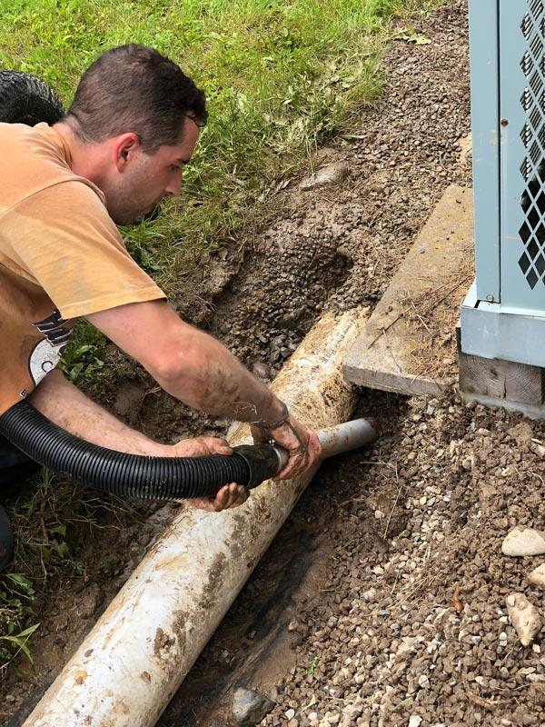Customer using industrial Vacuum Roll-n-Vac