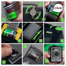 Load a box camera with 35mm