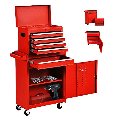 ORANGE 5-Drawer Rolling Tool Chest and Storage Cabinet with Wheels 2 in 1 Mobile Garage Ball-Bearing Steel Tool Chest Combo Tool Organizer