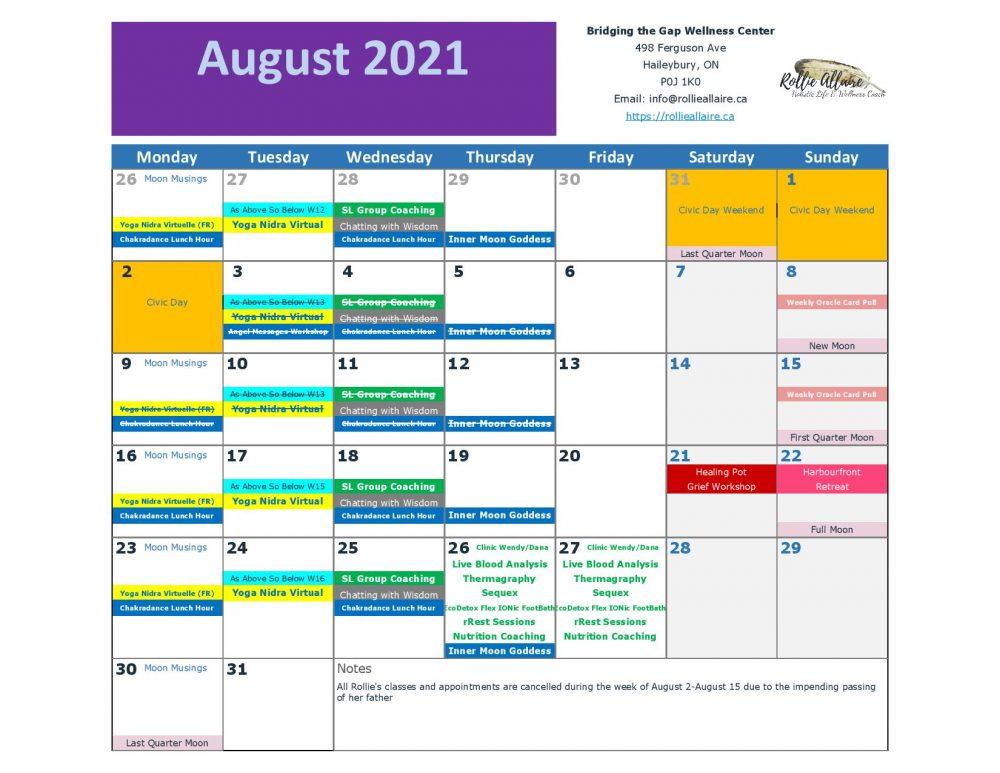 August 2021 Calendar front