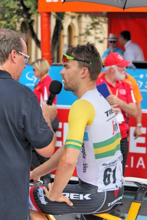 Bobridge interviewed at the start line