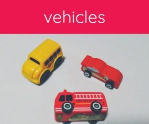 three toys: school bus, fire truck, race car