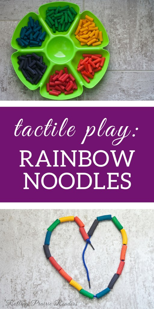 Rainbow noodles make excellent materials for tactile & sensory play! | toddler, preschooler, learning through play