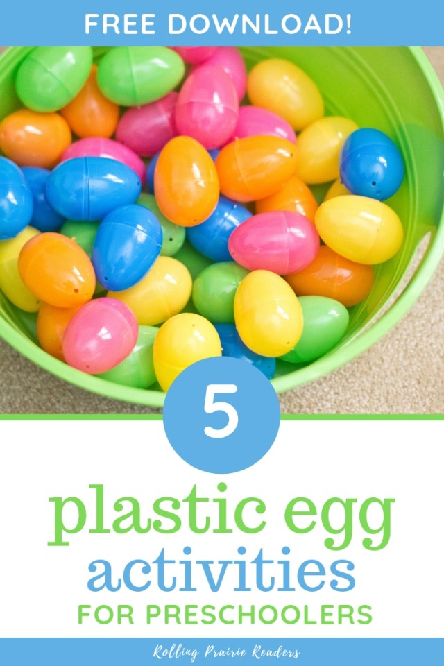bowl of plastic eggs with text: 5 plastic egg activities for preschoolers